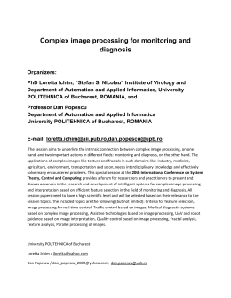 Complex image processing for monitoring and diagnosis