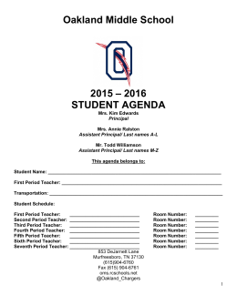 2016 STUDENT AGENDA - Oakland Middle School