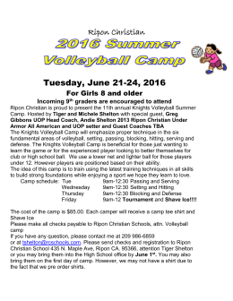 Volleyball Camp - Ripon Christian Schools