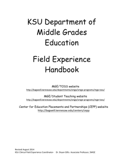KSU Department of Middle Grades Education Field