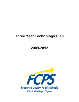 2009-12 FCPS Technology Plan - Frederick County Public Schools