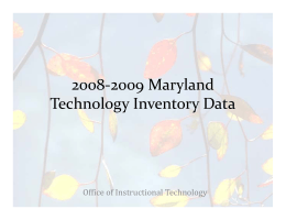 2008-2009 Maryland Technology Inventory Data