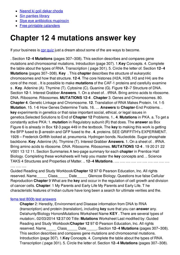 Chapter 12 4 mutations answer key