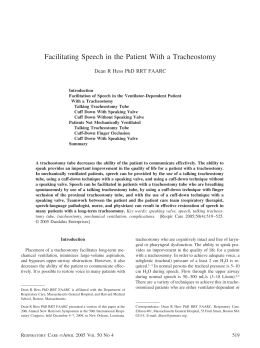 Facilitating Speech in the Patient With a