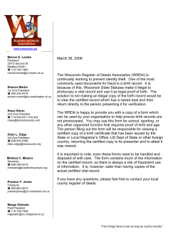 Cover Letter - Wisconsin Register of Deeds Association