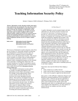 Teaching Information Security Policy