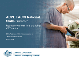 Presentation Title - Australian Skills Quality Authority