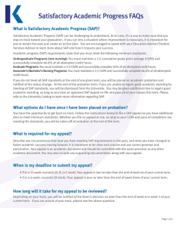 Satisfactory Academic Progress FAQs
