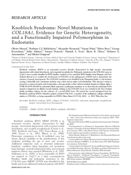 Knobloch syndrome: Novel mutations in COL18A1, evidence for
