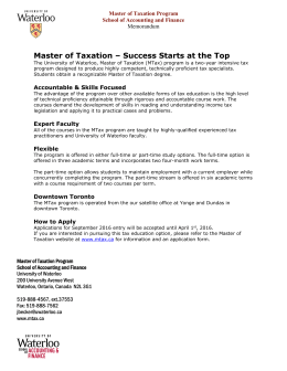 Master of Taxation – Success Starts at the Top