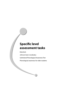 Specific level assessment tasks