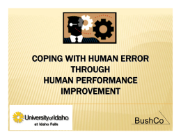 Coping with Human Error Through Human Performance