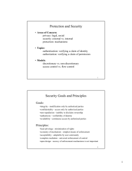 Protection and Security Security Goals and Principles