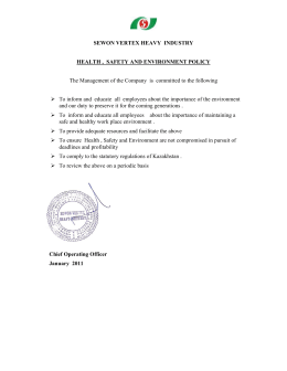 HSE Policy - Sewon Vertex Heavy Industries