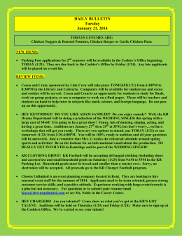 DAILY BULLETIN Tuesday January 21, 2014
