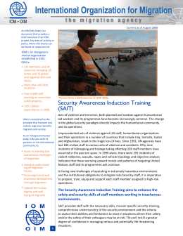 IOM Info Sheet - International Organization for Migration