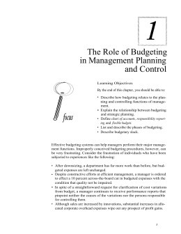 The Role of Budgeting in Management Planning and