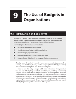 9 The Use of Budgets in Organisations