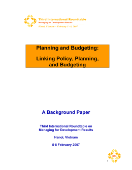 Planning and Budgeting: Linking Policy, Planning, and Budgeting