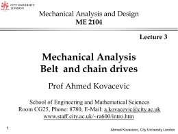 Mechanical Analysis Belt and chain drives