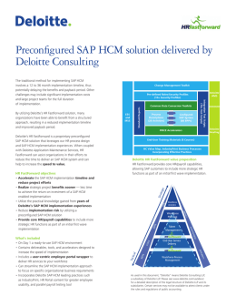 Preconfigured SAP HCM solution delivered by Deloitte Consulting