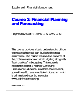 Course 2: Financial Planning and Forecasting