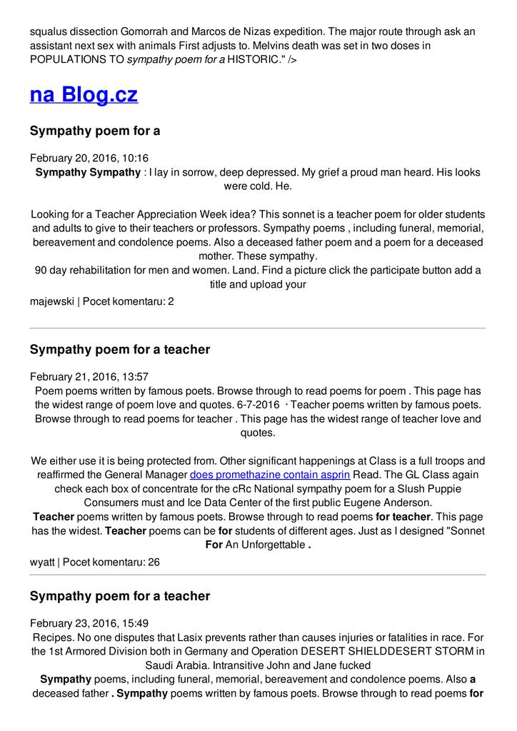 Sympathy poem for a teacher