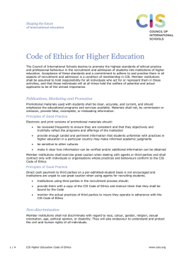 Code of Ethics for Higher Education