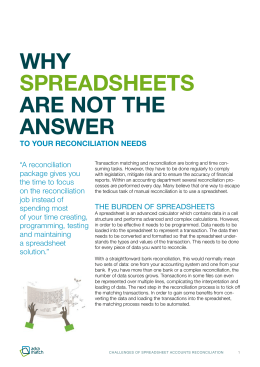 why spreadsheets are not the answer