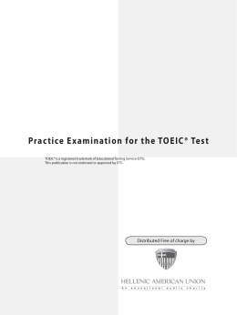 Practice Examination for the TOEIC® Test