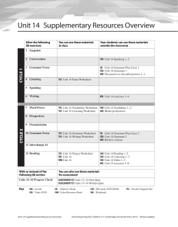 Unit 14 Supplementary Resources Overview