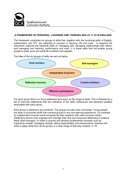 A framework of personal, learning and thinking skills 11
