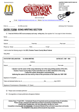 ENTRY FORM: SONG-WRITING SECTION