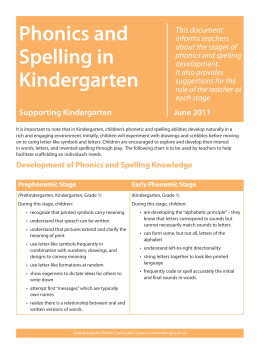 Phonics and Spelling in Kindergarten