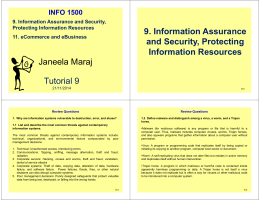 Janeela Maraj Tutorial 9 9. Information Assurance and Security