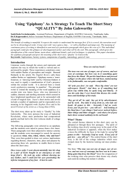 """QUALITY"" By John Galsworthy - Blue Ocean Research Journals"