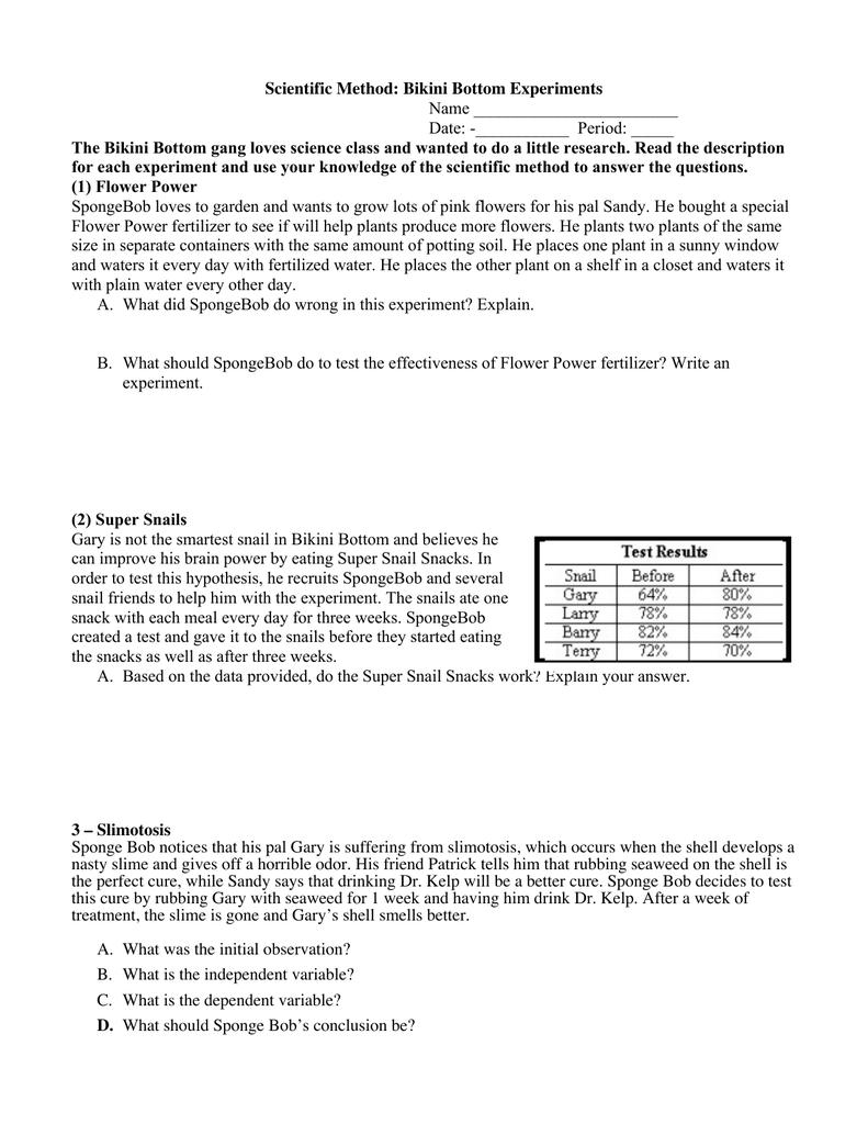 Spongebob Science Worksheet Tecnologialinstante – Science Variables Worksheet
