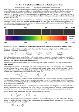 notes on Bohr and the hydrogen spectrum