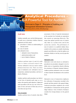 Analytical Procedures – A Powerful Tool for Auditors