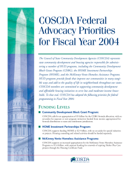 COSCDA Legislative Priorities for FY04