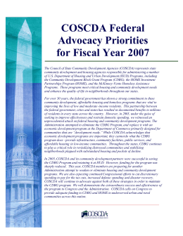 COSCDA FY07 Legislative Priorities