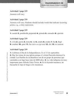 Actividad 1 page 219 Answers will vary. Actividad 2 page 219