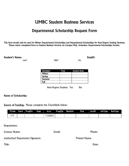 Departmental Scholarship Form - Student Business Services
