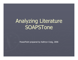Analyzing Literature SOAPSTone - Chapman-CWHS