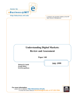 Understanding Digital Markets - MIT Center for Digital Business