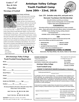 Antelope Valley College Youth Football Camp June 20th