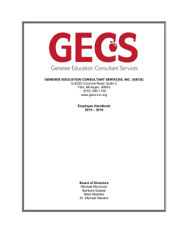 GENESEE EDUCATION CONSULTANT SERVICES, INC. (GECS) G