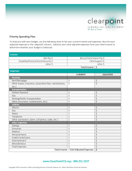 www.ClearPointCCS.org 800.251.2227 Priority Spending Plan