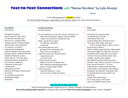 "Text-to-Text Connections with ""Names Nombres"" by Julia Alvarez"