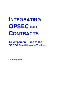 NTEGRATING OPSEC INTO CONTRACTS